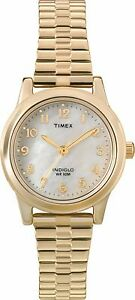 Timex-Women-039-s-T2M827-Gold-Stainless-Steel-Quartz-Watch-with-Mother-Of-Pearl-Dial