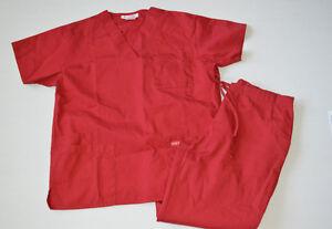 Peaches Womens Small Solid Scrub Set 4 Pocket Scrub Shirt Top 5 Pocket Pants