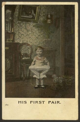 His First Pair of Bloomers as Underwear! Vintage Living Pictures Series Pcard