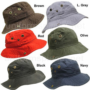 e3d16f6d33c Men s Washed Cotton Bucket w  String Hat Safari Outback Fishing Hats ...