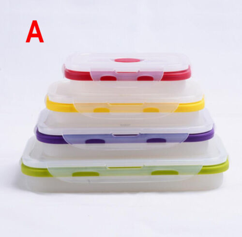Eco-friendly Silicone Four Size Collapsible Folding Lunch Boxes Food Containers