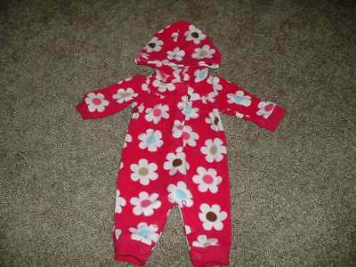 Carter's Baby Girls Pink Fleece Flower Hooded One-Piece Outfit Size Newborn NB