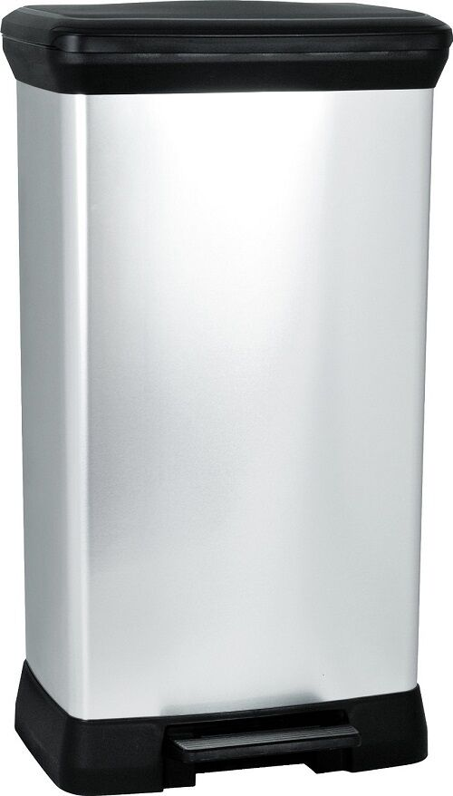 Kitchen Bin 50 Litre Pedal Deco Metal Effect Silber No rust easy clean Bag Hold