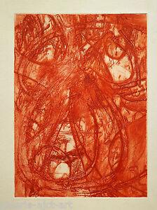 Albert Prat (1927-2009) Gravure Iv 1970 Abstraction Lyrique Eau Forte Abstrait Vif Et Grand Dans Le Style