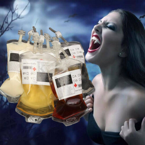 REUSABLE IV BLOOD BAGS HALLOWEEN PARTY HAUNTED HOUSE DRINK CONTAINER DECOR A+++