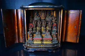Japanese-Antique-Many-Mini-Buddha-Statues-in-A-Miniature-Shrine-Mid-Edo-Period