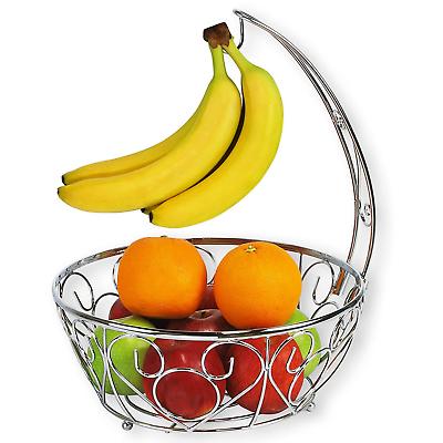 Fruit Storage Banana Hook Bowl Basket Rack Holder Chrome Metal Wire Hanger