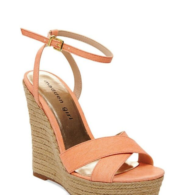 4356658b5a6 Madden Girl Viicki Canvas Wedge Sandals Shoes 1436 7