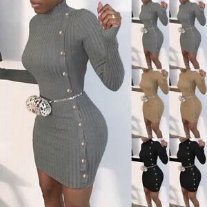 Women-039-s-Knitted-Long-Sleeve-Mini-Jumper-Dress-High-Neck-Bodycon-Sweater-Dresses
