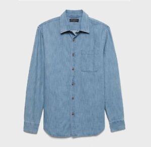Men-039-s-Banana-Republic-Slim-Fit-Cotton-TENCEL-Chambray-Shirt-Large-or-X-Large