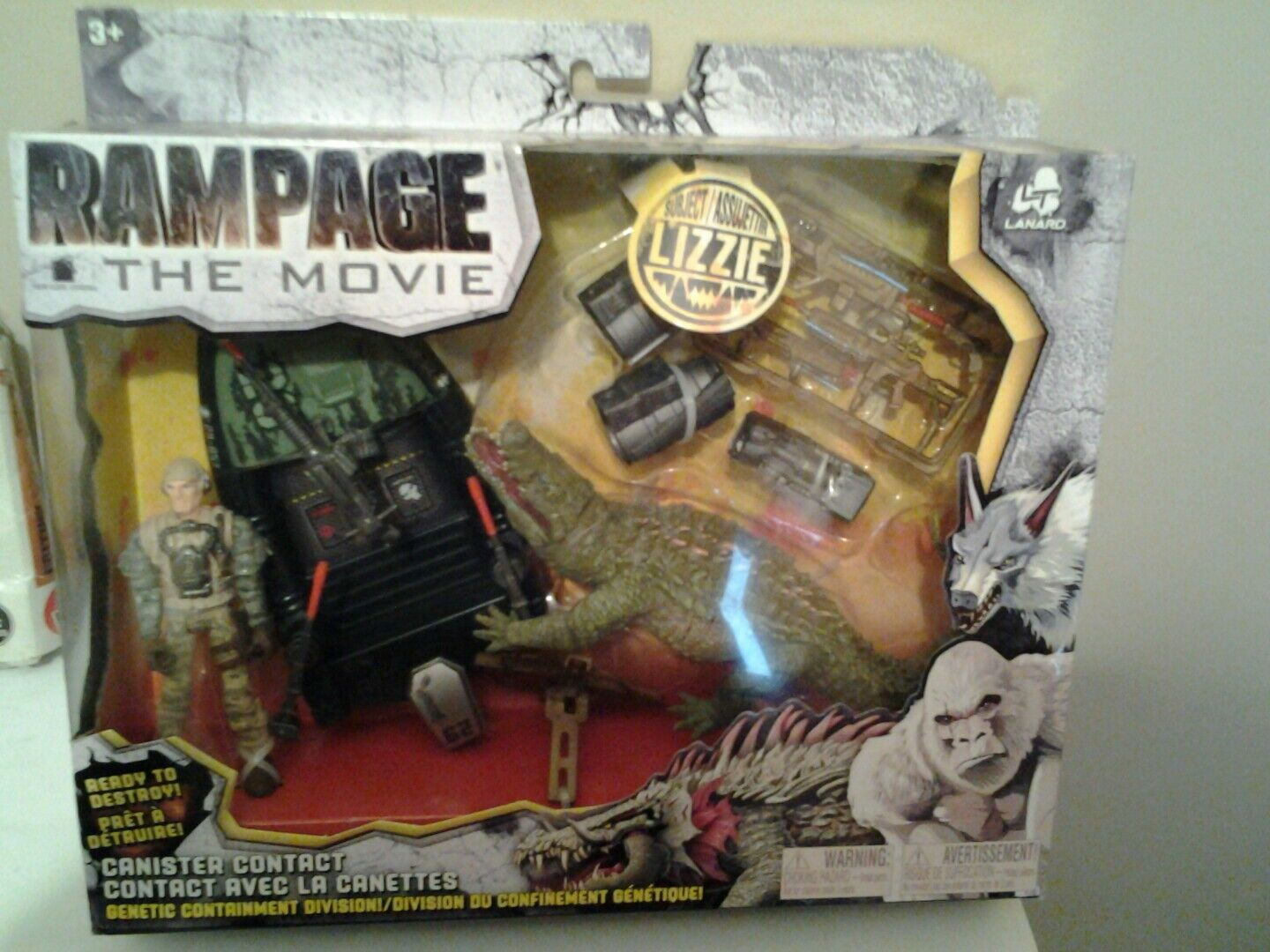 Nouveau Rampage Film Canister contact Lizzie Crocodile Play Set Action figures Toys