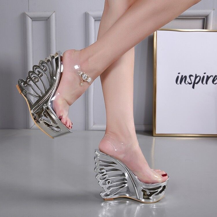 femmes Fashion Sexy Peep Toe Buckle Strap Wedge High Heels Platform Sandals Taille
