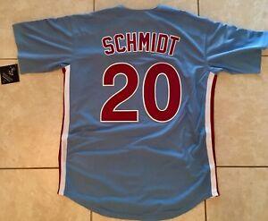 New!! XL Philadelphia Phillies Mike Schmidt Blue  20 Baseball Jersey ... 785e6b5bd50