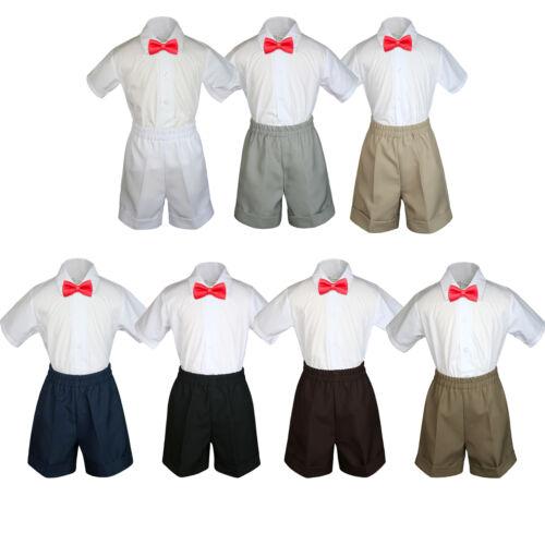3pc Boy Toddler Formal Red Bow Tie Shorts Black Brown Navy Dark Khaki S-4T