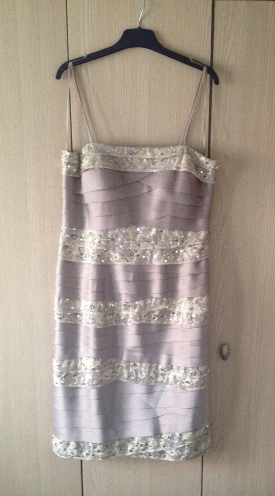 Phase Eight Taupe Oyster Tiered Dress With Delicate Lace sequin Trim, Size 12