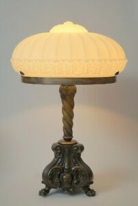 Prunkvolle-grosse-original-Jugendstil-Tischlampe-Messinglampe-Bronze-1920