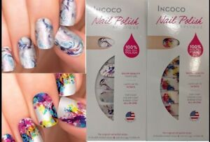 Lot-of-2-INCOCO-Nail-Polish-APPLIQUE-16-strips-ea-MASTERPIECE-and-CHEMISTRY