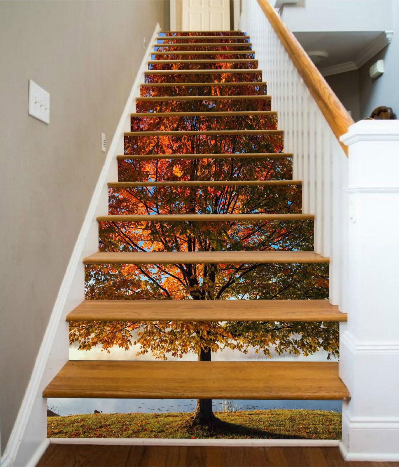 3D Gro Baum 704 Stair Risers Dekoration Fototapete Vinyl Aufkleber Tapete DE