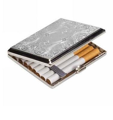 METAL CIGARETTE CASE ~ ~ ~ ~ ~ silver metal engraved design cigerette holder