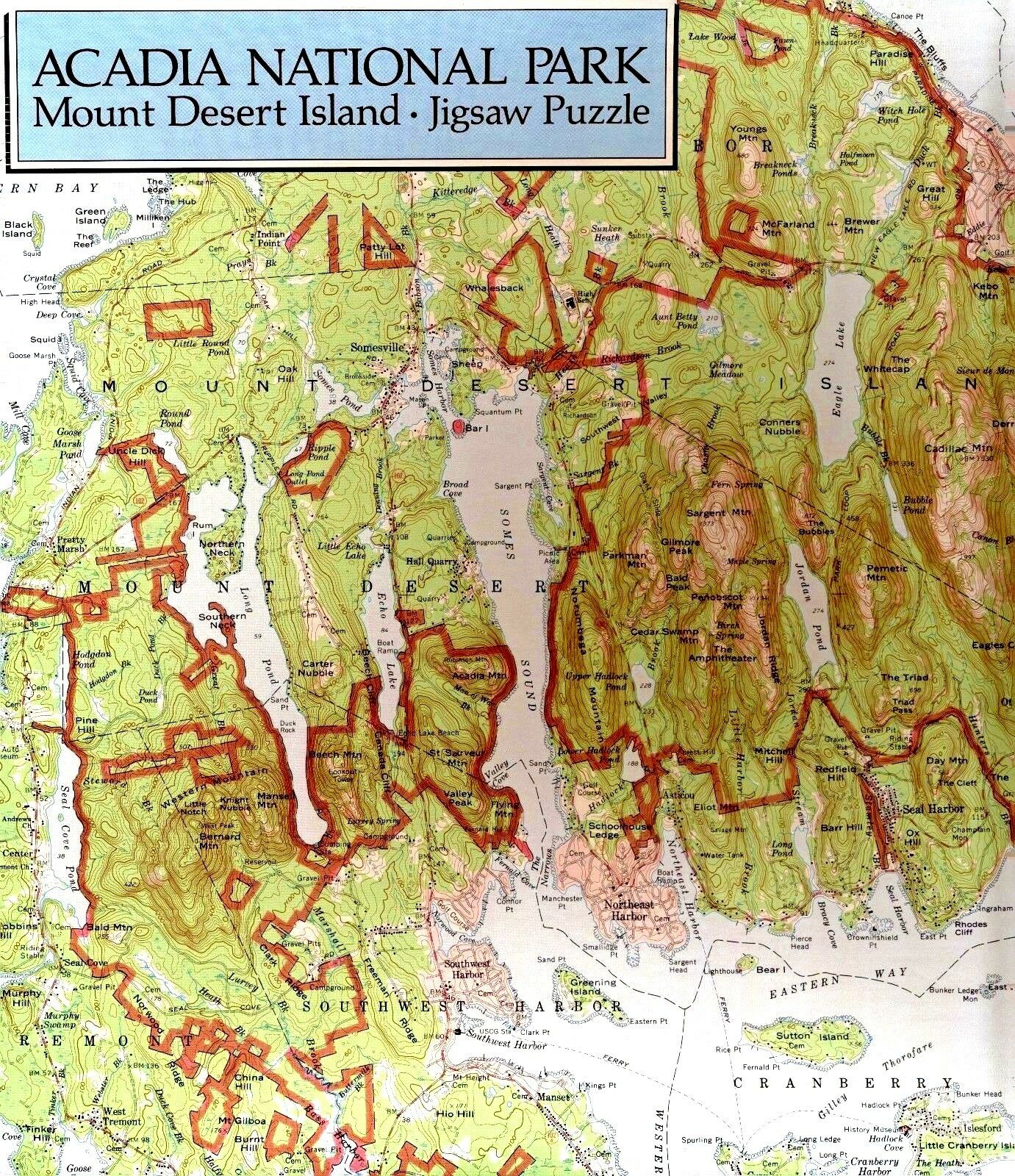 Aia National Park Mt Desert ISL Maine Carte PUZZLE 500 p RARE New Free Ship USA