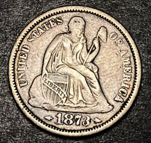 1873 Seated Liberty Silver Dime 10c W Arrows Open 3 Variety Full Liberty