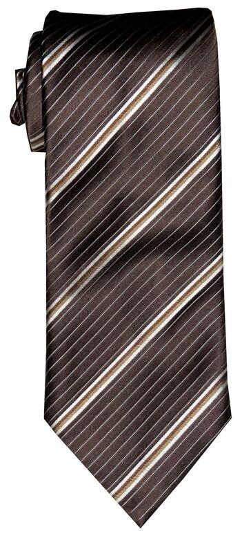 $285 New Brioni Brown Gold Beige Diagonal Stripes Silk Mens Neck Tie