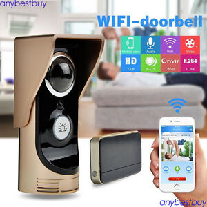 wifi video audio camera door bell phone wireless doorbell intercom f android ios ebay. Black Bedroom Furniture Sets. Home Design Ideas