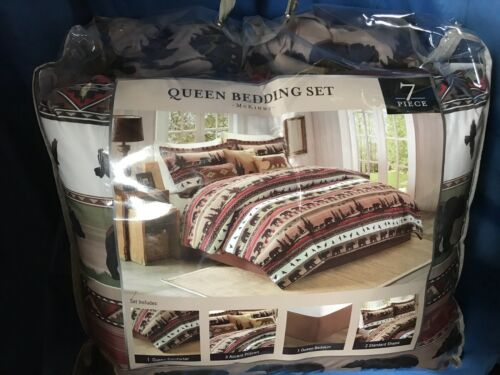 """Brand New in pkg Details about  /McKinny /""""Rustic Bear Queen Comforter 7pc set/"""" Free Shipping"""