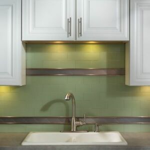 Details About Peel And Stick Tile Self Adhesive Glass Wall Bathroom Kitchen  Backsplash Green