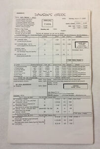 DAWSON-039-S-CREEK-set-used-CALL-SHEET-plus-12-pages-of-sides-Season-3-Episode-22