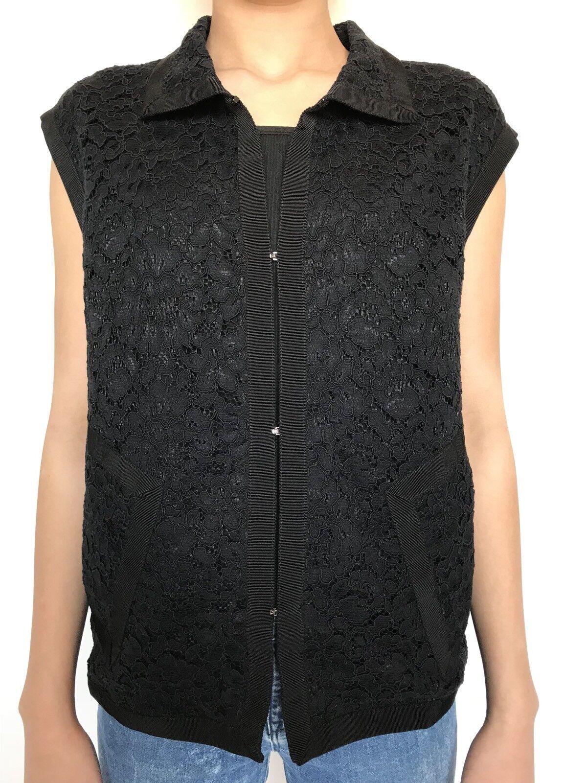 Carolina Herrera schwarz Lace Waistcoat Top. NWT Retail  Price  Größe XS