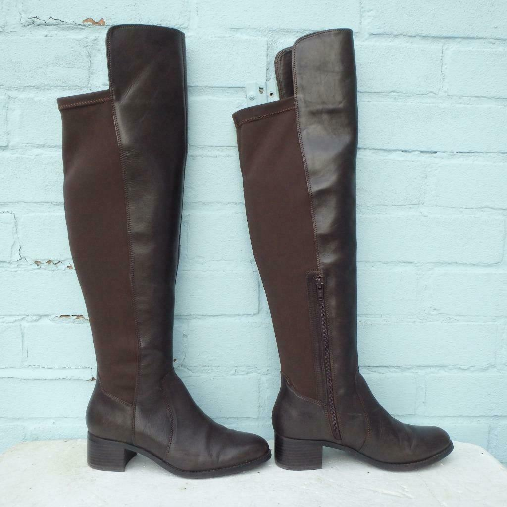 Marks & Spencer Leather Boots Size Uk 4 Eur 37 Sexy Womens Pull on Brown Boots