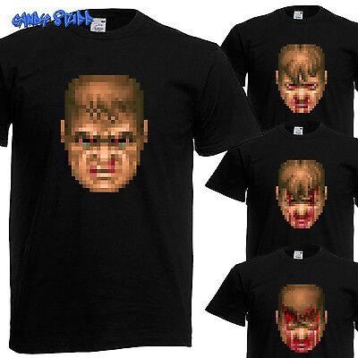 Angemessen Doom Guy Face / Head - Retro Game T-shirt - Kult - Gallery 5/5 Geeignet FüR MäNner Und Frauen Aller Altersgruppen In Allen Jahreszeiten
