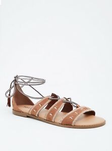 a39235e9c245 Image is loading Torrid-Embroidered-Lace-Up-Gladiator-Sandals-Wide-Width-