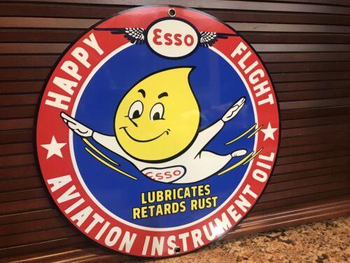 ESSO aviation Instruments garage racing Oil gasoline vintage Style  round sign