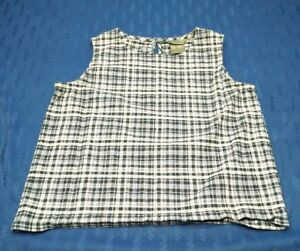 Women's Solutions New York Sleeveless Button down Top Size Large Blue White