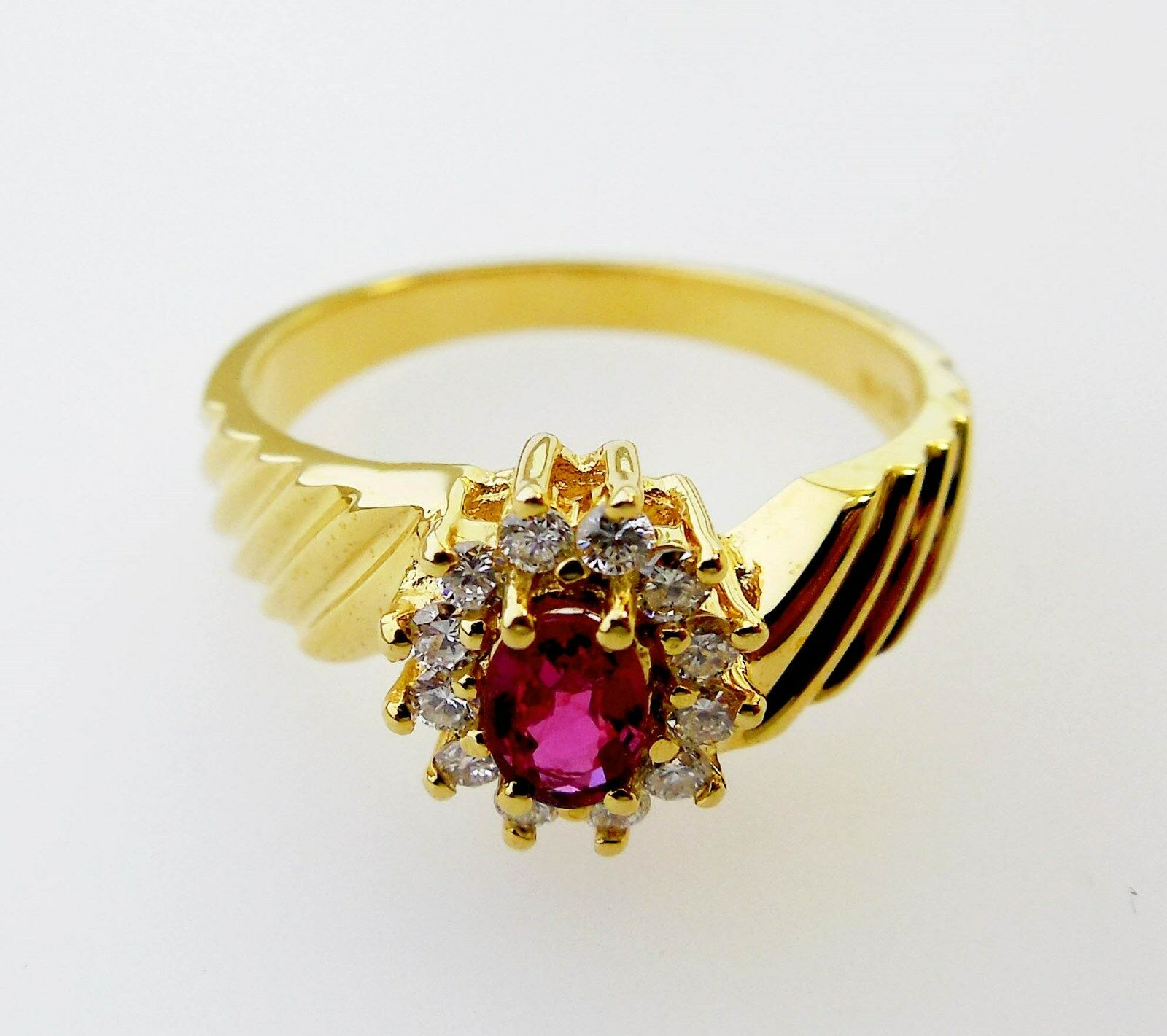 14KT YELLOW gold CHARMING  LADIES RUBY AND DIAMONDS RING (10686R)
