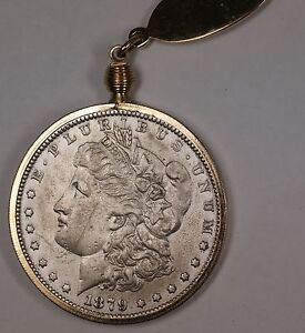1879 Morgan Silver Dollar $1 Circulated Coin on a Gold ...