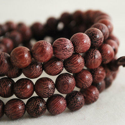 Natural Purple Rosewood Round Wood Beads 6mm 8mm 108 Mala Prayer Beads