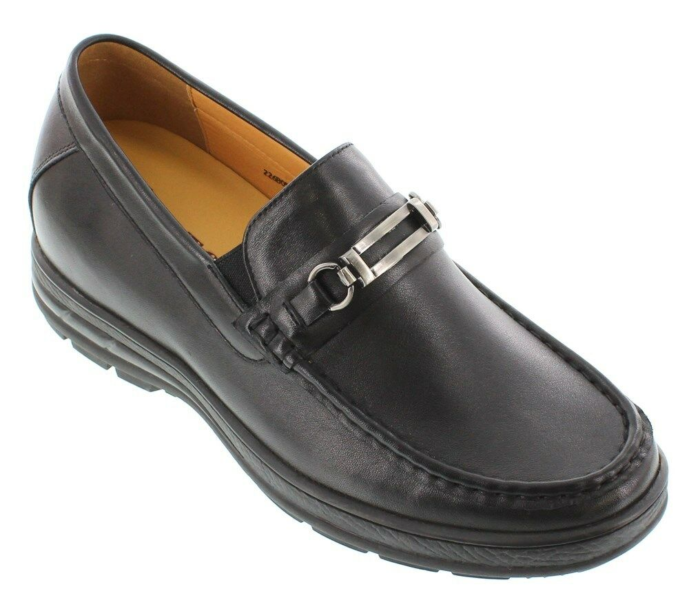 TOTO H22652 - 2.4 Inches Elevator Height Increase Casual Slip-On Black Loafers