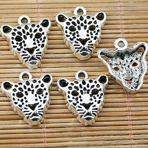 40pcs tibetan silver tone Leopard head design charms EF1539