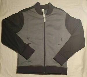 Lululemon-Athletics-Women-039-s-Sz-M-Mock-Neck-Full-Zip-Gray-Black-Jacket
