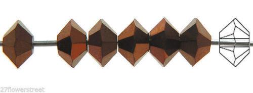 Squished Diamond shape 5305 Jet Bronze coated 36 Czech MC Spacer Beads 3x5mm