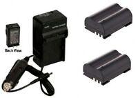 Two 2 Batteries + Charger For Olympus Evolt E-30 E-300 E-330 E-500 E-510 E-520