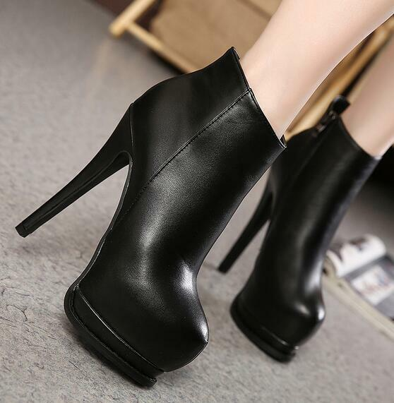 14cm Womens Sexy Slim High Heels Platform Ankle Riding Boots Round Toe shoes F10