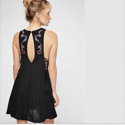 Free People Adelaide Slip Dress Festival Boho Gypsy Embroidered Floral Print