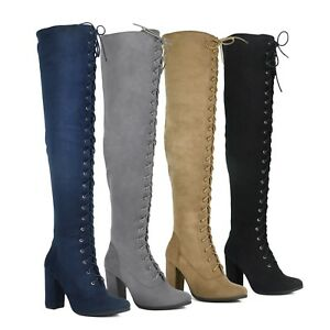 NEW-Women-Lace-Up-Zipper-Over-The-Knee-Thigh-High-Chunky-Heel-Boots-Size-5-5-10