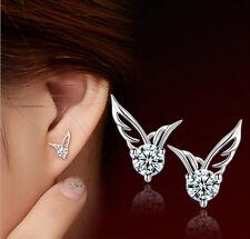 Fashion elegant Women Silver Jewelry Angel Wings Crystal Ear Stud Earrings