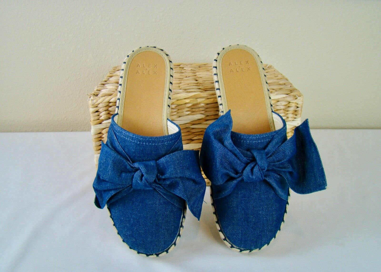 Alex Marie Denim Bow Mules Espadrilles - NEW - Taille 39 8.5