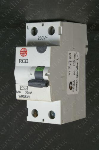 TESTED Wylex 80A 30mA  RCD RCCB WRS80//2 63A 30mA WRS63//2 80A 100mA WRM80//2